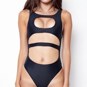 LNA Lee + Lani black volcanic swimsuit with flaws